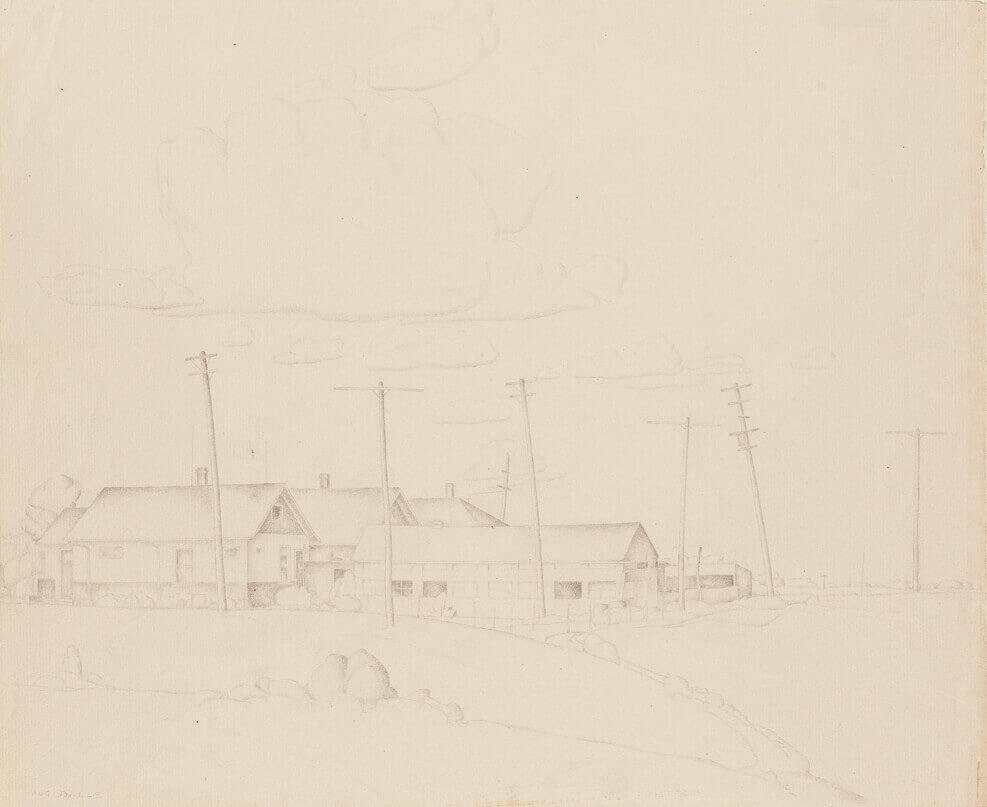Art Canada Institute, Lionel LeMoine Fitzgerald, Landscape with Buildings, 1930