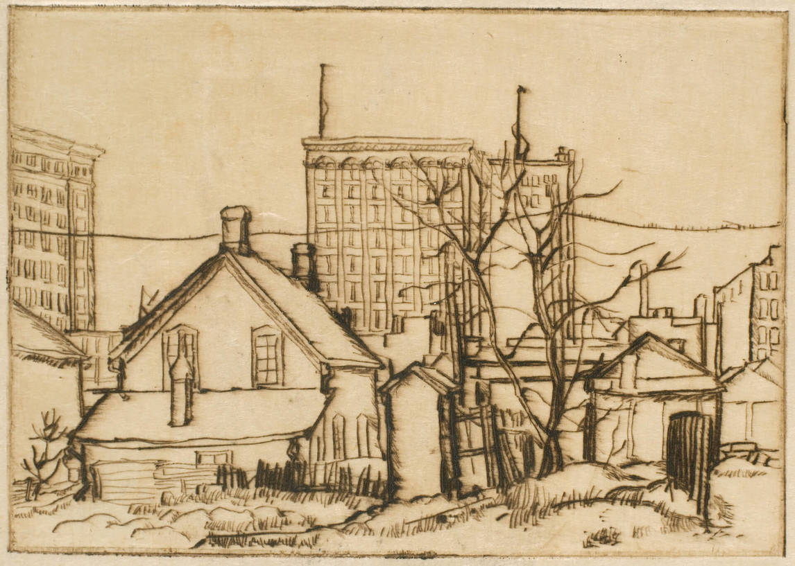 Art Canada Institute, Lionel LeMoine Fitzgerald, Old House and Buildings, 1923, State III/VI