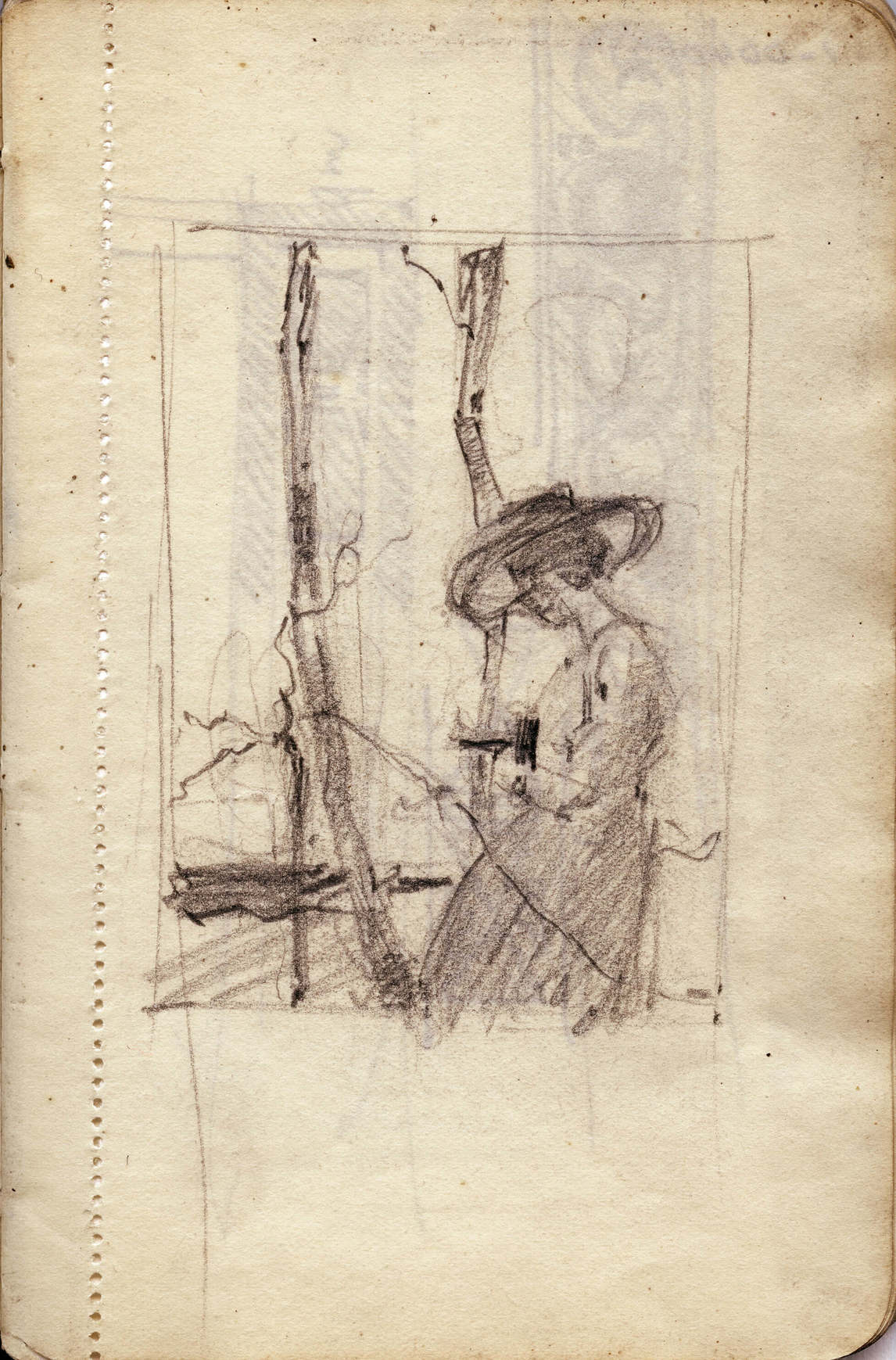 Art Canada Institute, Lionel LeMoine Fitzgerald, Sketchbook study for Woman with Camera Outdoors, c. 1917