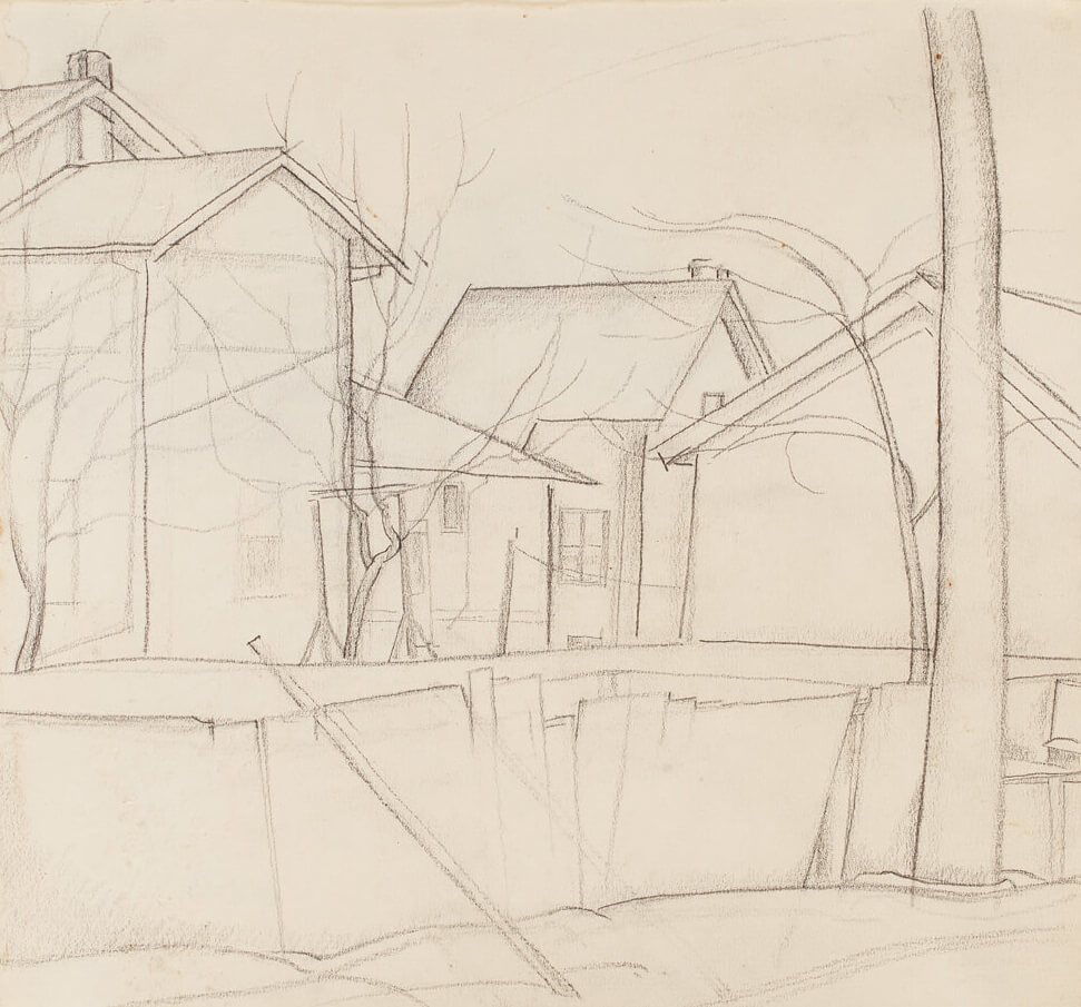 "Art Canada Institute, Lionel LeMoine Fitzgerald, Study for ""Pritchard's Fence,"" c. 1928"