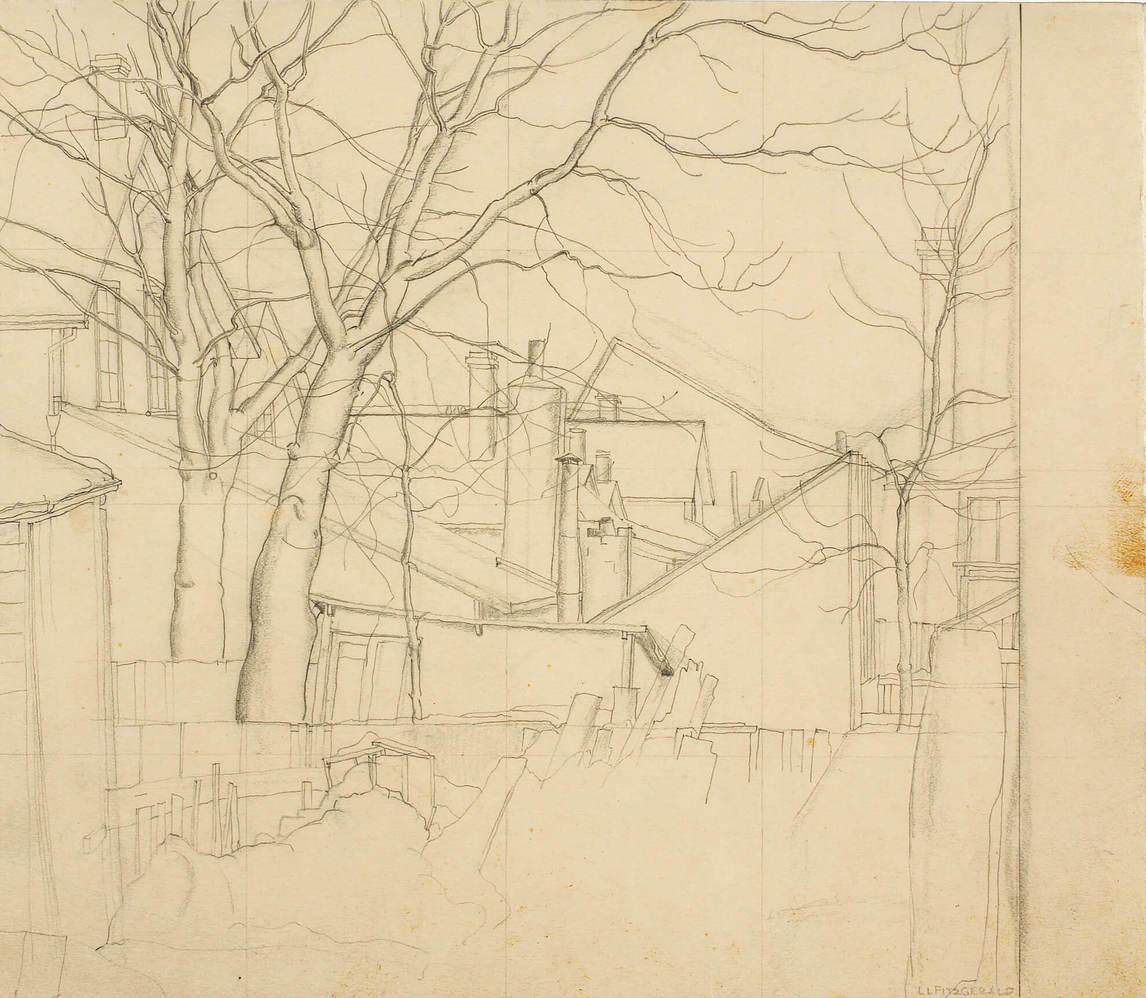 "Art Canada Institute, Lionel LeMoine Fitzgerald, Transfer drawing for ""Backyards, Water Street,"" 1927"