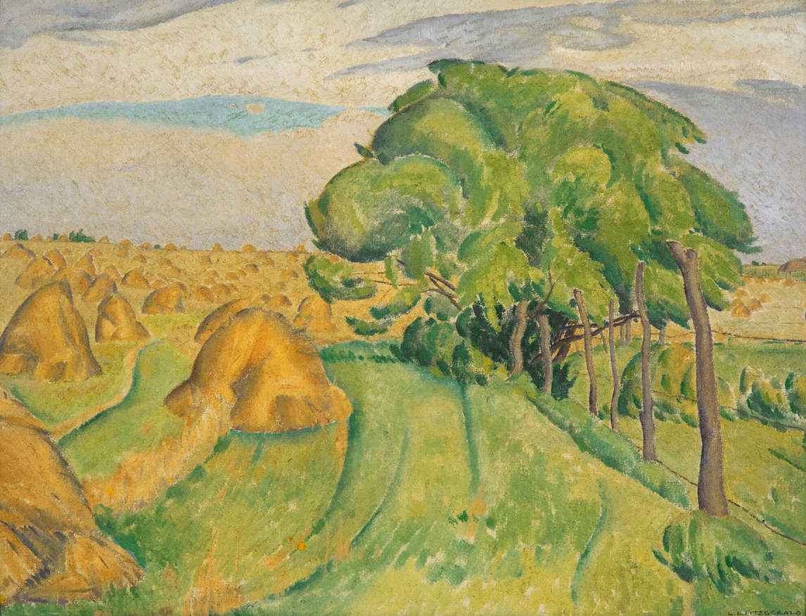 Art Canada Institute, Lionel LeMoine Fitzgerald, Untitled (Stooks and Trees), 1930