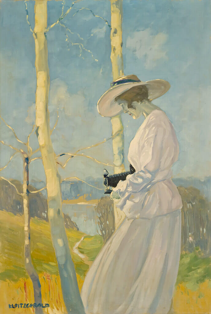 Art Canada Institute, Lionel LeMoine Fitzgerald, Woman with Camera Outdoors, c. 1917