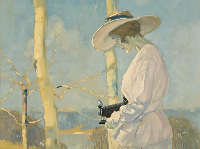 Lionel LeMoine FitzGerald, Femme avec caméra en plein air, v.1917