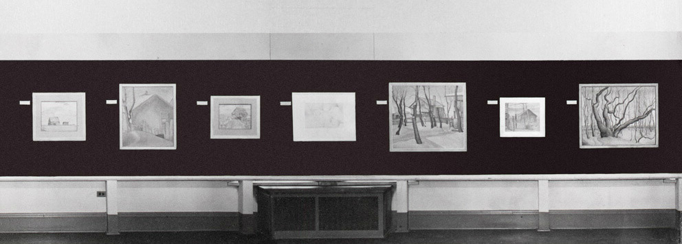 Art Canada Institute, installation view of FitzGerald's A Memorial Exhibition at the Winnipeg Art Gallery, February 23 to March 23, 1958