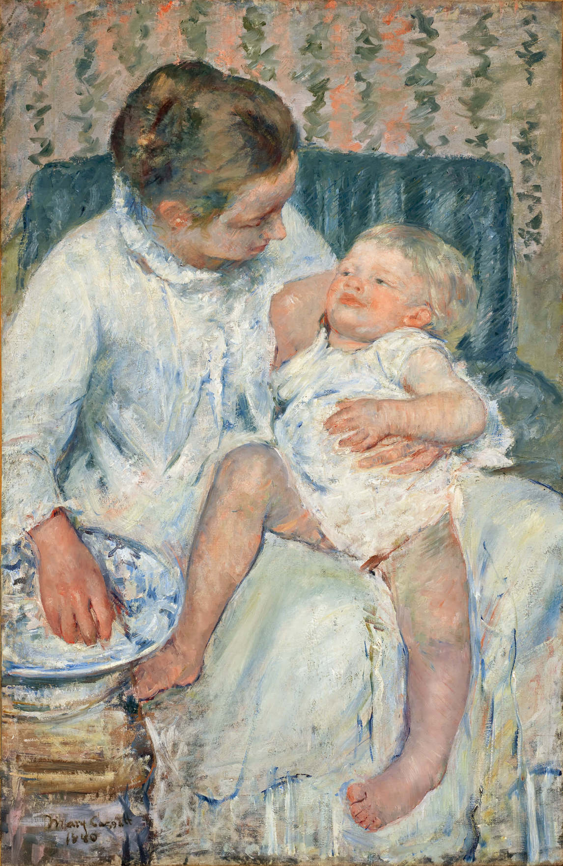 Mother About to Wash Her Sleepy Child, 1880, Mary Cassatt