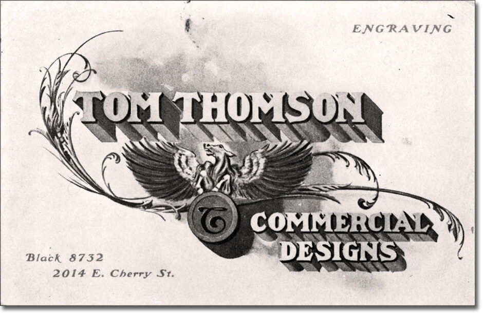 Art Canada Institute, Thomson's business card from Seattle, c. 1904
