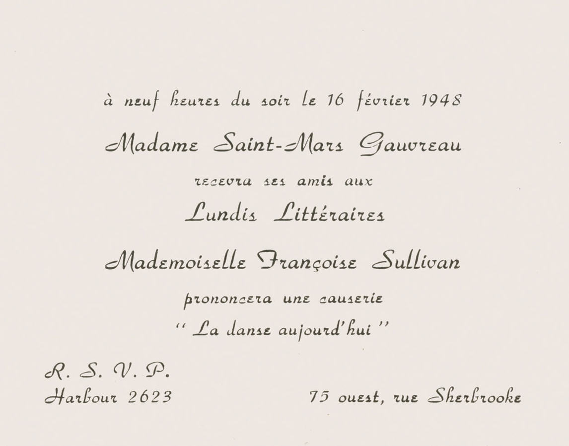 "Invitation to Françoise Sullivan's reading of her essay ""La danse aujourd'hui,"" February 16, 1948."