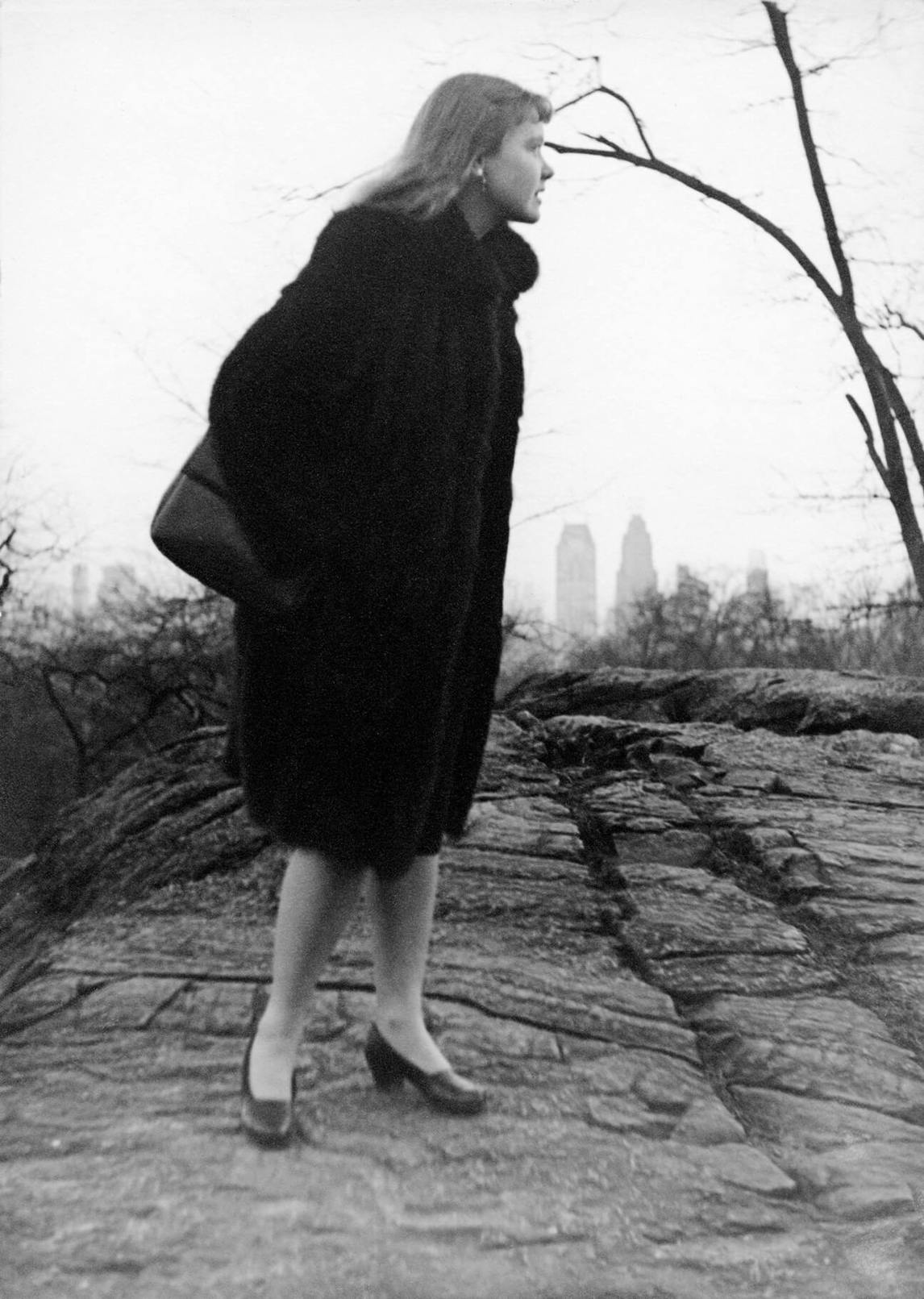 Françoise Sullivan in Central Park, New York, c. 1946. Photograph by Laredo.