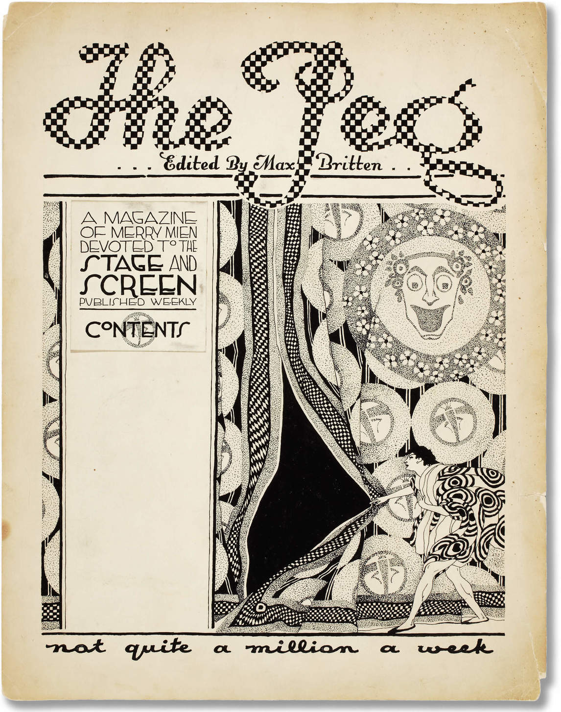 Bertram Brooker, page couverture de The Peg: A Magazine of Merry Mien Devoted to the Stage and Screen, v.1915-1921
