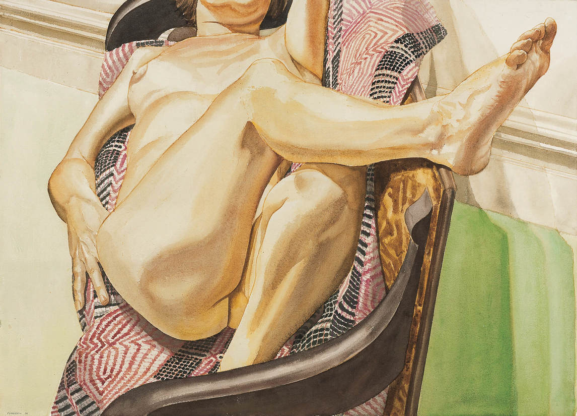 Philip Pearlstein, Female Model Reclining on Red and Black American Bedspread (Femme nue allongée sur couvre-lit américain rouge et noir), 1976
