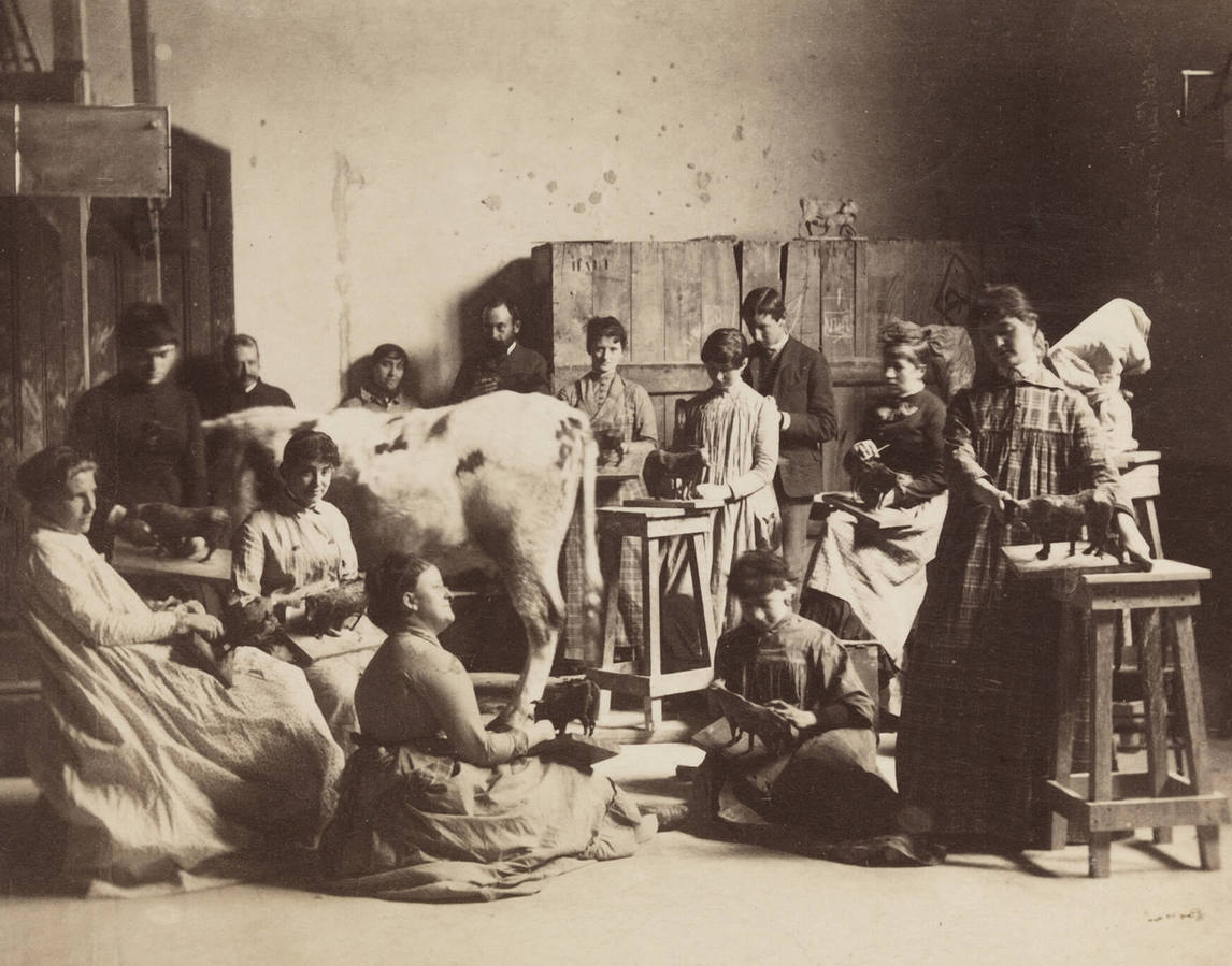 Circle of Thomas Eakins, Women's Modeling Class with Cow in Pennsylvania Academy Studio, c.1882