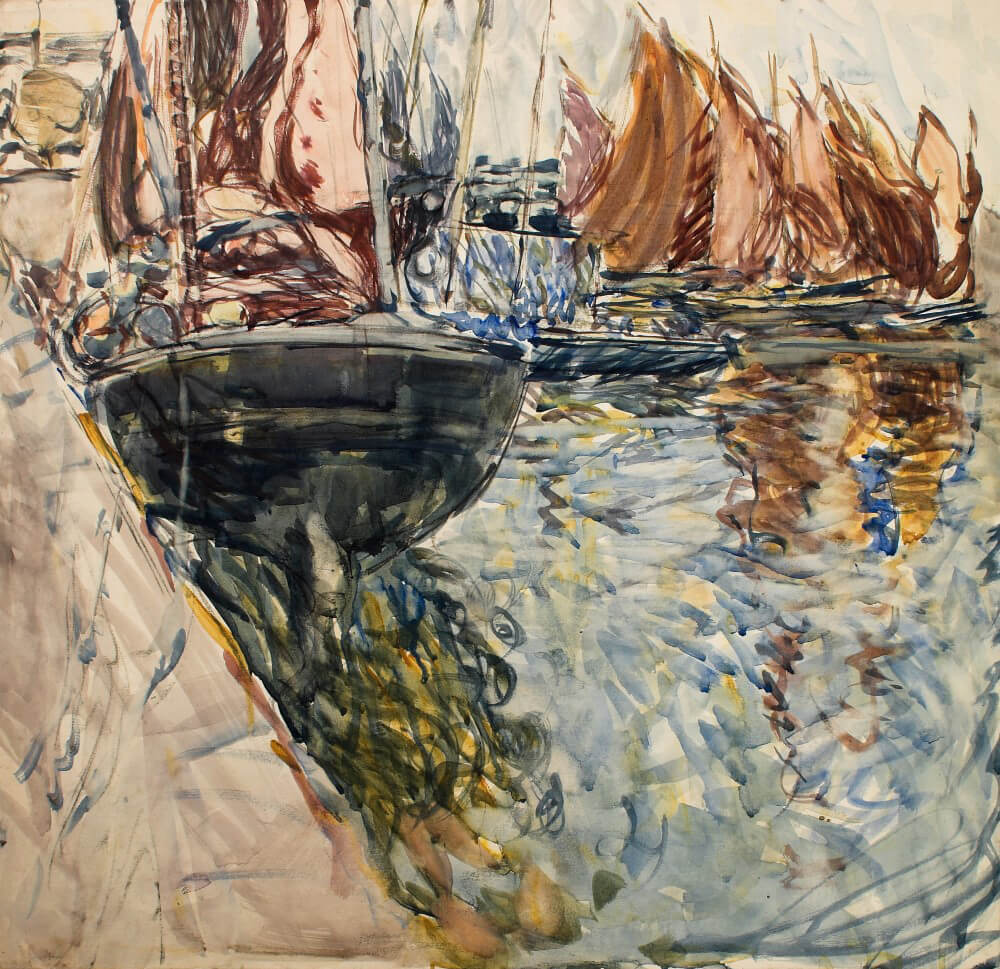 Art Canada Institute, Frances Hodgkins, Boats by the Harbour Wall, c. 1910