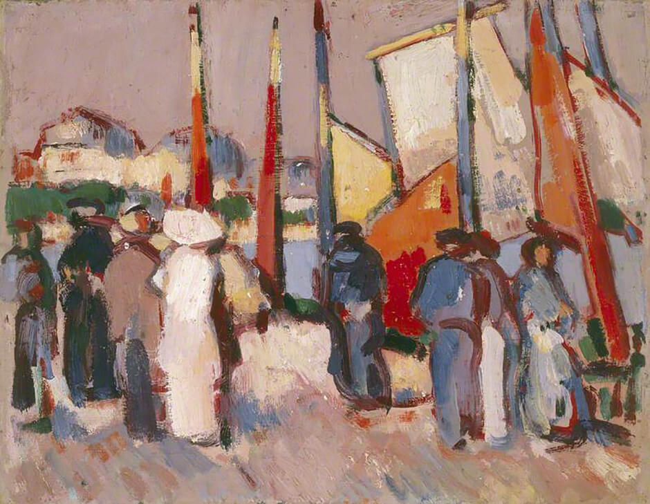 Art Canada Institute, John Duncan Fergusson, People and Sails at Royan, 1910