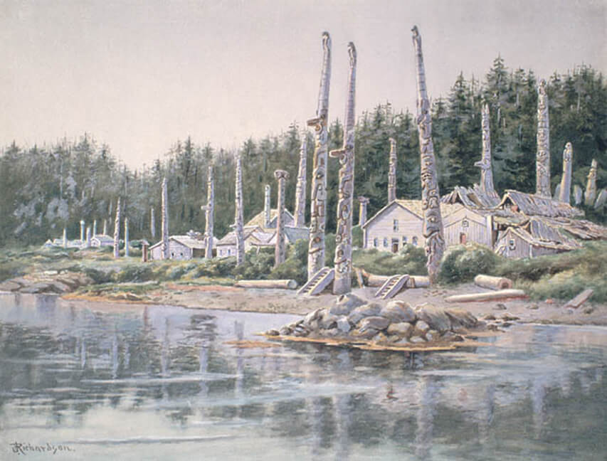 Art Canada Institute, Theodore J. Richardson, Totem Poles and Houses of the Kaigani Haidas at Old Kasaan, Prince of Wales Island, Alaska, c. 1903