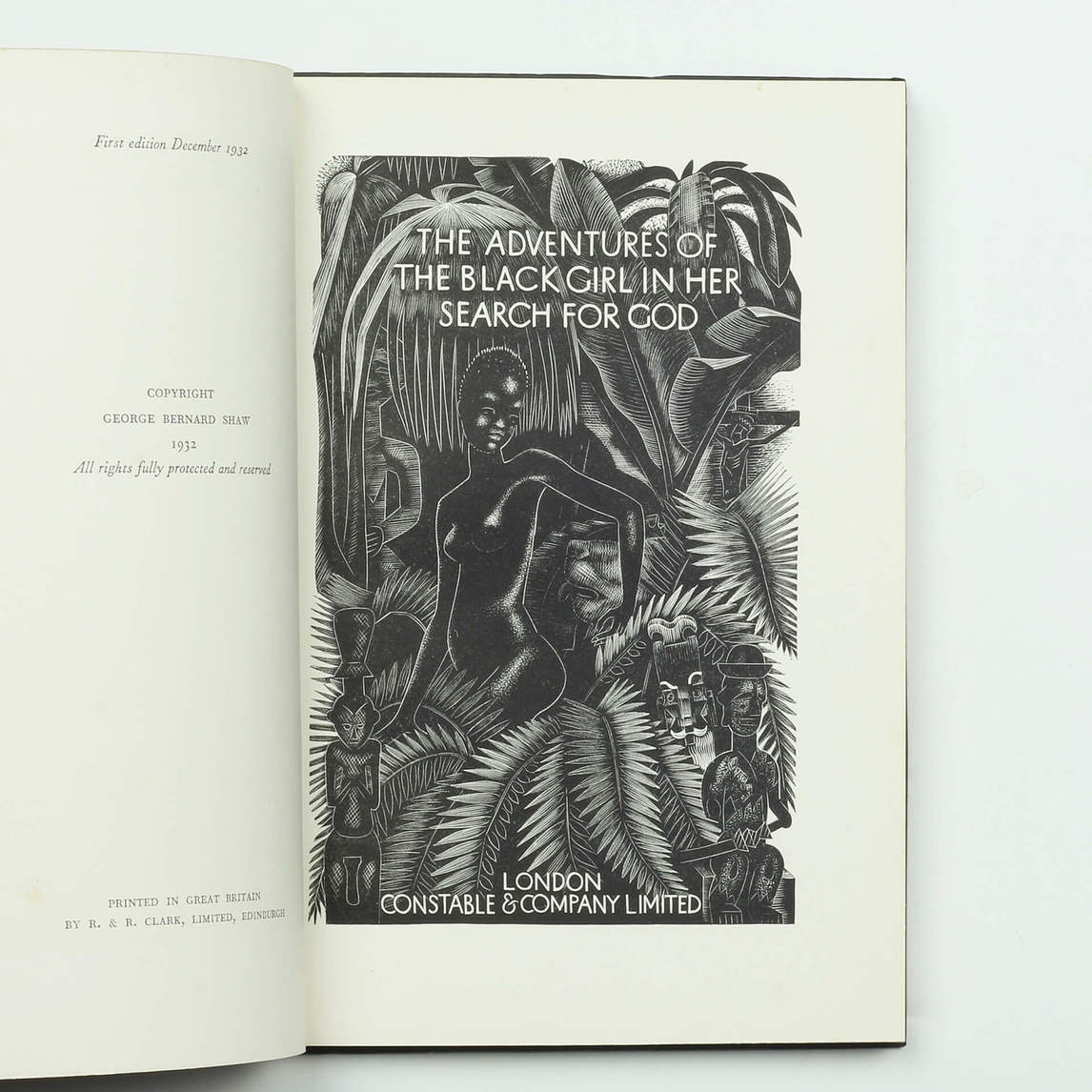Art Canada Institute, original cover, George Bernard Shaw's The Adventures of the Black Girl in Her Search for God, 1932, illustrations by John Farleigh