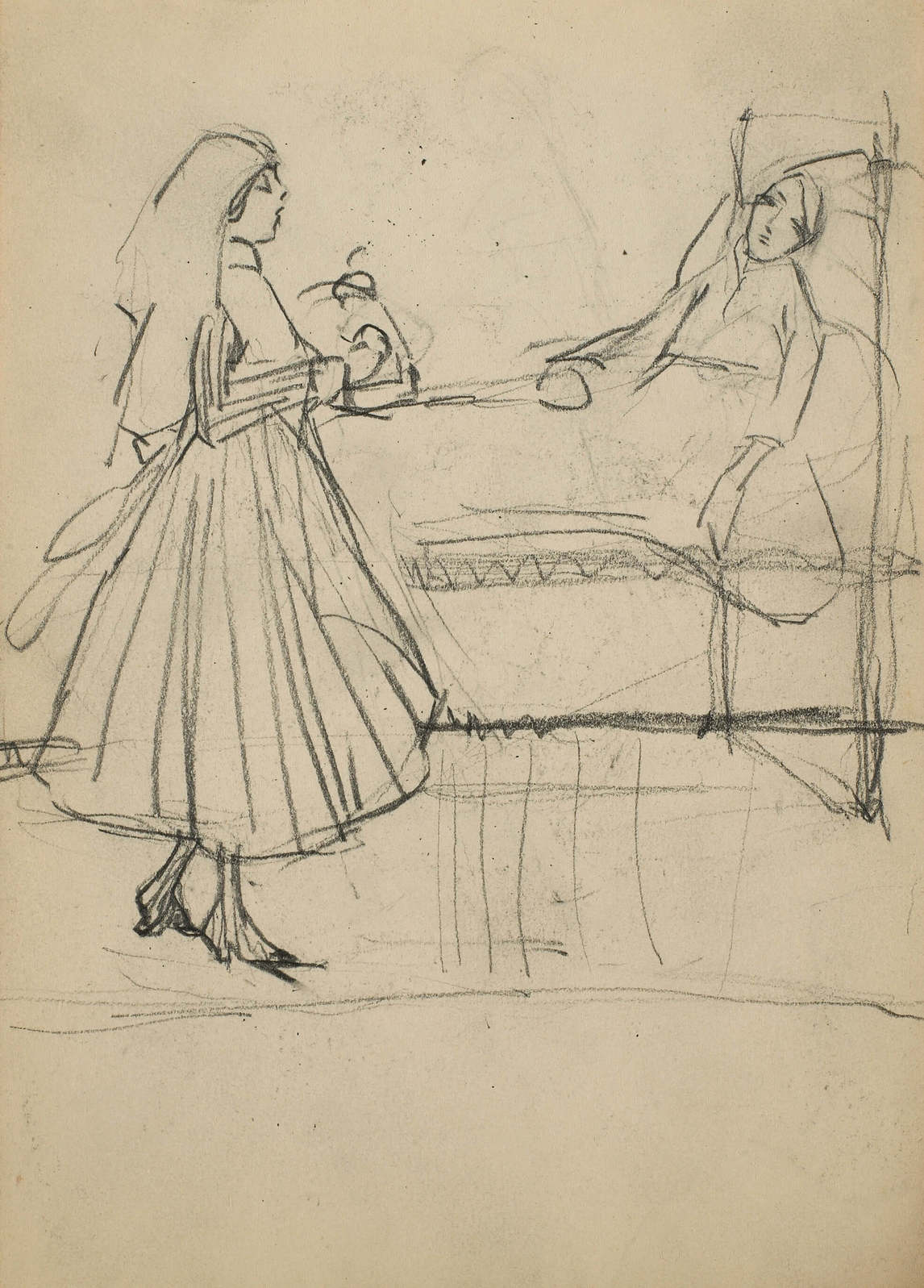 Art Canada Institute, Prudence Heward, Untitled (Figural sketch of a nurse and a patient), c. 1916