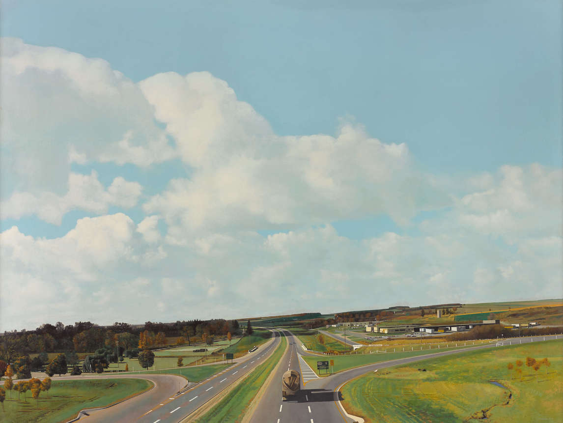 Art Canada Institute, William Kurelek, Jack Chambers, 401 Towards London No. 1, 1968–69