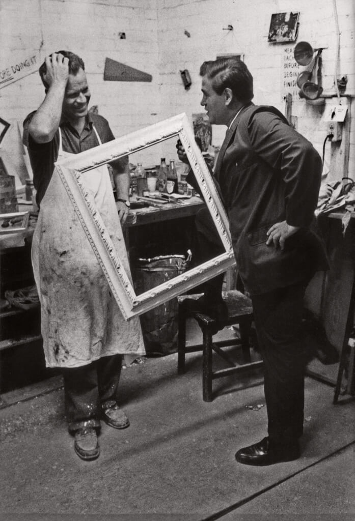 Art Canada Institute, William Kurelek, William Kurelek and Avrom Isaacs in the Isaacs Gallery framing workshop, c. 1960s