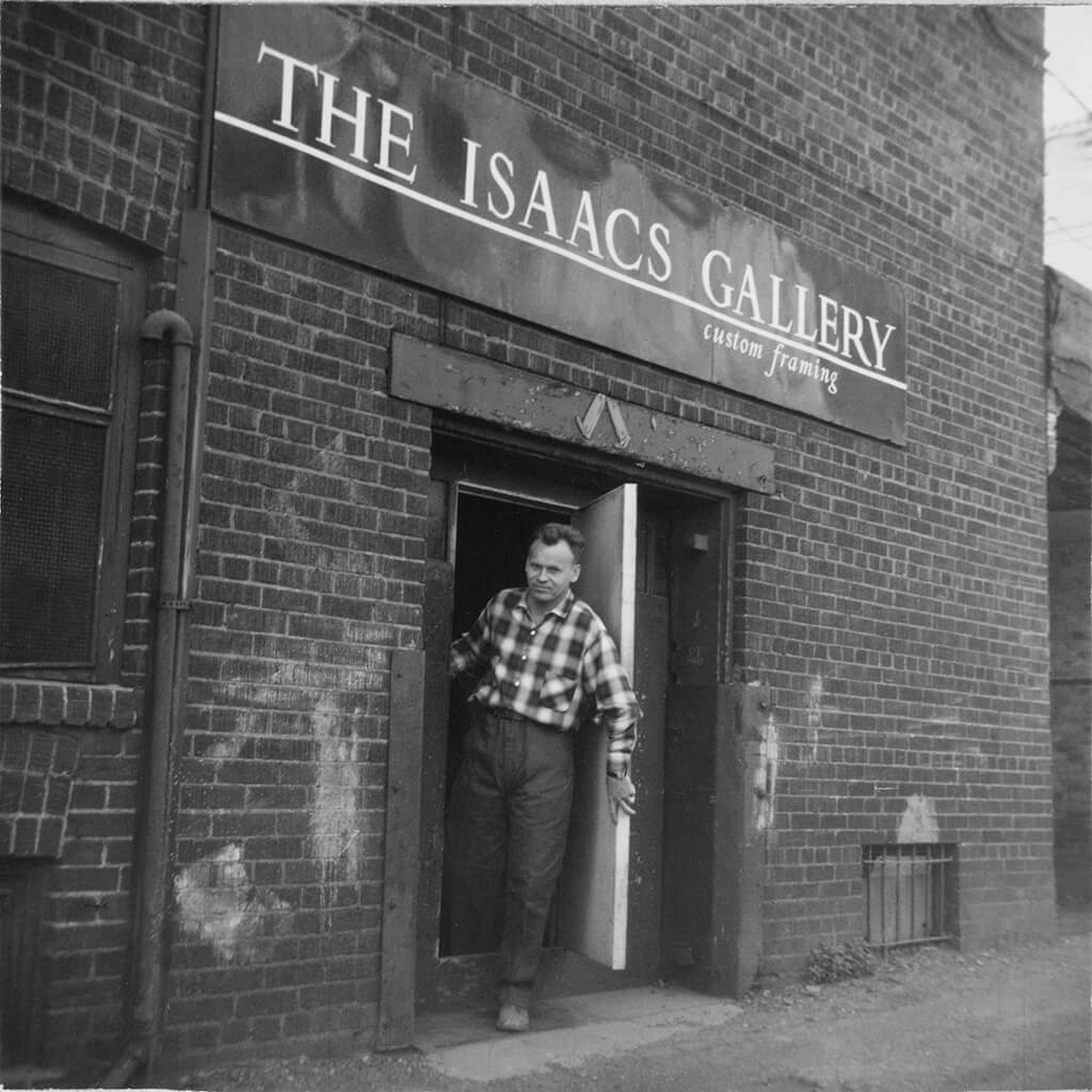 Art Canada Institute, William Kurelek, The artist at the Isaacs Gallery framing shop, c. 1959.