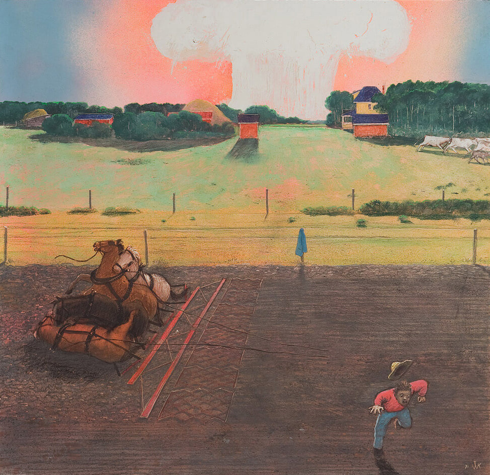 Art Canada Institute, William Kurelek, Not Going Back to Pick Up a Cloak; If They Are in the Fields after the Bomb Has Dropped, 1971