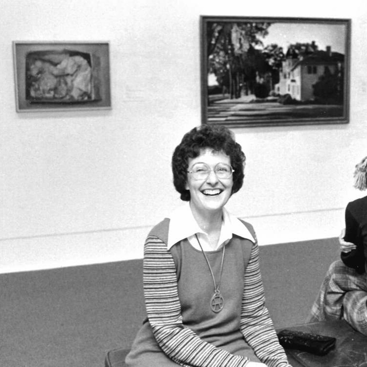 <p>Mary Pratt at the opening of <em>Some Canadian Women Artists </em>at the National Gallery of Canada, Ottawa, 1975, photographer unknown.</p>