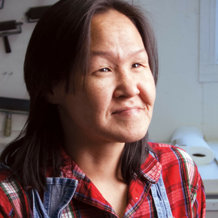 <p>Annie Pootoogook, 2006. Courtesy of McMichael Canadian Art Collection, Kleinburg, Ontario. © Katherine Knight and Site Media Inc., Toronto. Photo credit: Katherine Knight.</p> <p></p> <p>Banner image: Annie Pootoogook, <em>Playing Nintendo</em>, 2006, coloured pencil and ink on paper, 41.5 x 51 cm. Private collection. Courtesy of the McMichael Canadian Art Collection, Kleinburg, Ontario. Reproduced with the permission of Dorset Fine Arts.</p>