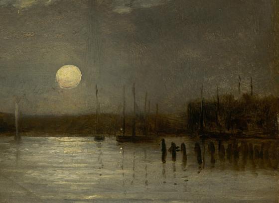 Sans titre [lune au-dessus d'un port, scène avec un quai et des mâts de bateaux sous une pleine lune]