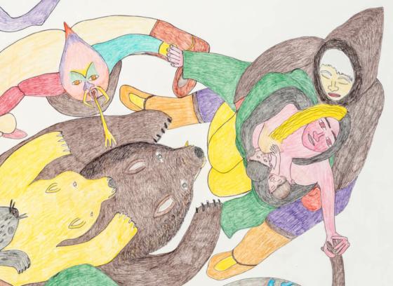 Composition [Personnes, animaux et Terre se tenant par la main]