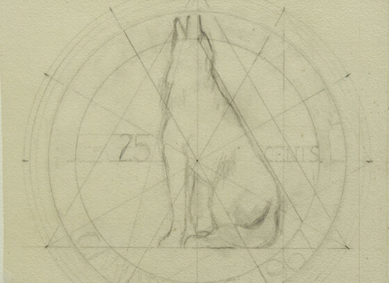 Study for 25 cent coin / Design for coin, wolf