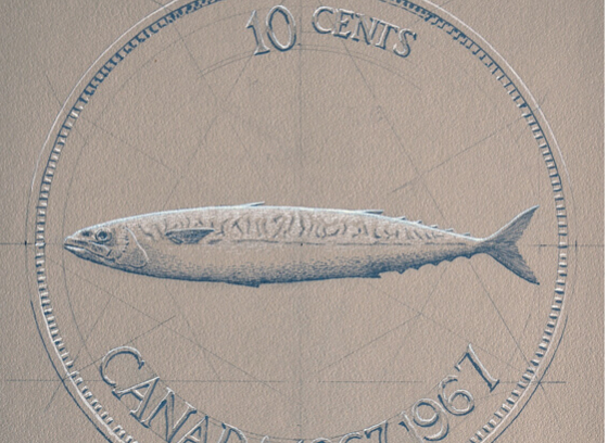 Drawing for 10 cent coin / Centennial Coin, Alex Colville, 10 cents